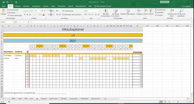 Excel Urlaubsplaner Beispiel Juli