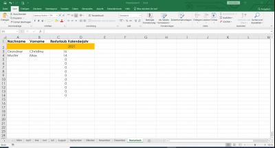 Excel Urlaubsplaner Resturlaub