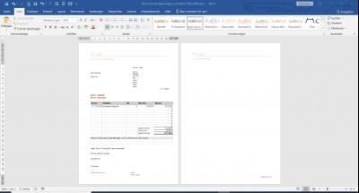 Word Rechnungsvorlage Design mit MwSt. und integrierter Excel Tabelle