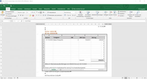 Word Rechnungsvorlage Excel ohne MwSt