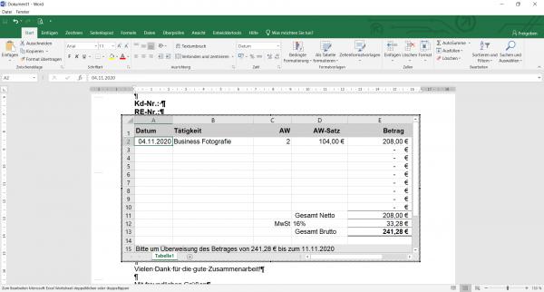 Word Rechnungsvorlage Excel mit MwSt