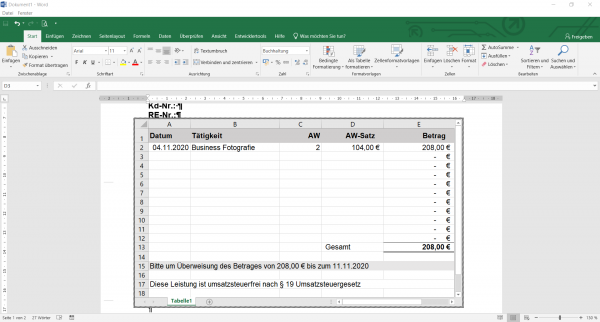 Excel Tabelle ohne MwSt