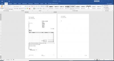 Word Rechnungsvorlage Arial mit MwSt. und integrierter Excel
