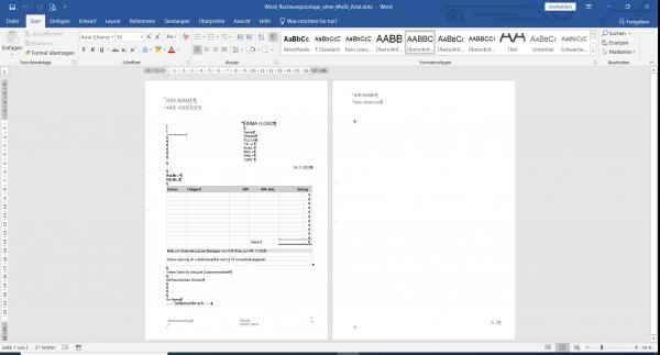 Word Rechnungsvorlage Design ohne MwSt. und integrierter Excel Tabelle